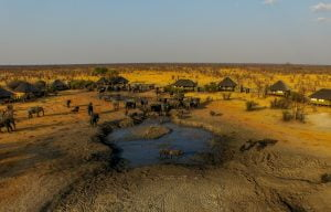 Nehimba Lodge aerial view of waterhole with elephants drinking
