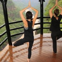 Yoga practice at Gorges Lodge offers sublime views