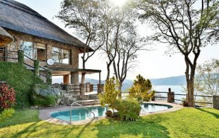 Masumu River Lodge is perched on a hillside at the end of a peninsular it has a secluded setting with glorious panoramic views over Lake Kariba