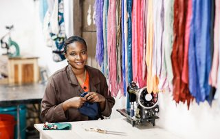 Angelina is one of the talented artisans working at Shanga in Arusha, Tanzania