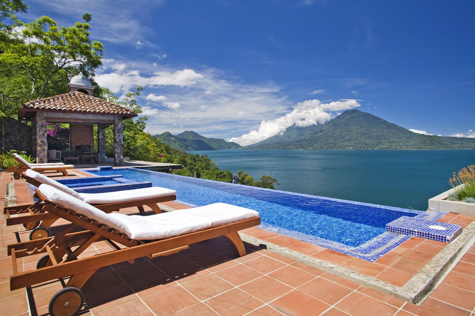 Casa Palopo on lake Atitlan. Pictured is the infinity pool at the hotel villas. (credit: Al Argueta)